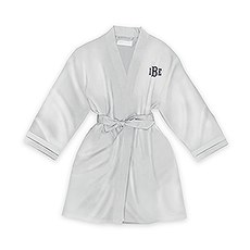 Personalized Junior Bridesmaid Satin Robe with Pockets - Silver