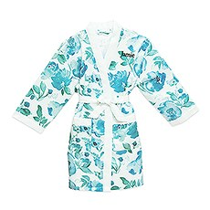 Personalized Junior Bridesmaid Satin Robe With Pockets - Light Blue & Mint Floral