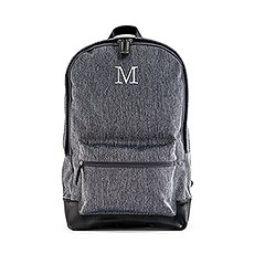 """Personalized Classic Backpack with 15"""" Laptop Sleeve - Heathered Black"""