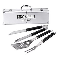 Custom Stainless Steel BBQ Tools Grill Set - King of the Grill