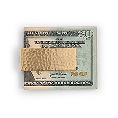 Money Clip - Hammered Gold & Polished Silver