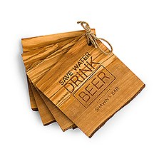 Rustic Wood Coaster Set - Drink Beer Etching