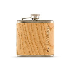 Personalized Wood Flask for Groomsman - Vertical Text