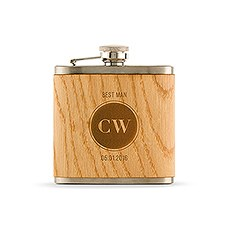 Personalized Wood Flask - Etched Circle Monogram
