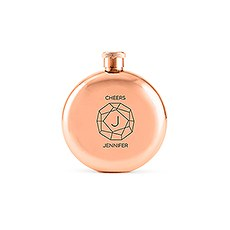 Polished Rose Gold Round Hip Flask - Monogram Gem Etching