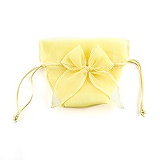 Organza Drawstring Favor Bags with Bow - Lemon Yellow