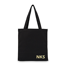 Modern Monogram Black Canvas Tote Bag