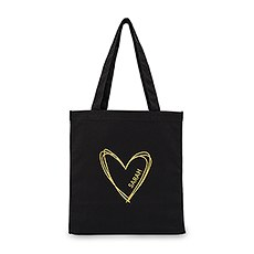 Personalized Heart Black Canvas Tote Bag