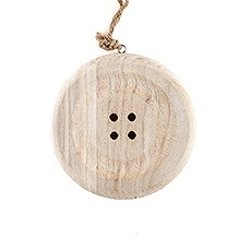 Charming Wooden Button Decoration with Natural Finish - Small