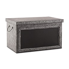 Tin Box with Aged Finish & Blackboard Panel Display