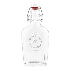 Vintage Inspired Clear Glass Hip Flask - Botanical Wreath Etching