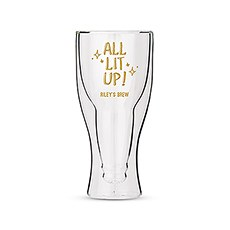 Personalized Double Walled Beer Glass All Lit Up! Printing