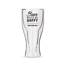 Personalized Double Walled Beer Glass Beer Makes Me Hoppy Print