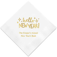 Hello New Year Printed Paper Napkins