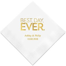 Best Day Ever- Block Style Printed Paper Napkins
