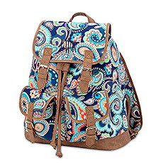 Large Personalized Polyester Fabric Backpack with Faux Leather Trim- Paisley