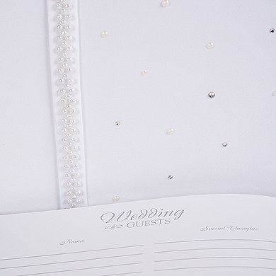 Scattered Pearls and Crystals Traditional Wedding Guest Book