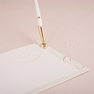 Pure Elegance Special Occasion Wedding Guest Book And Pen With Blank Pages