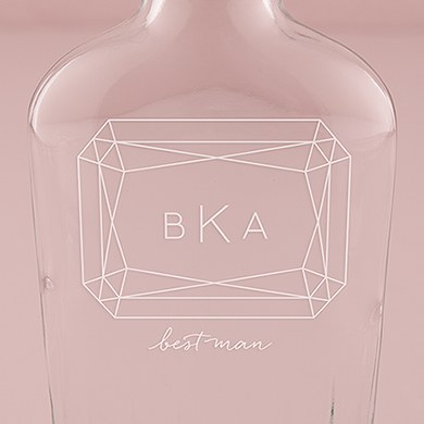 Vintage Inspired Clear Glass Flask   Monogram Gem Etching