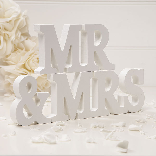 Best Mr And Mrs Questions: Wooden Mr & Mrs Letters Off White