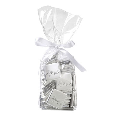 Individually Wrapped Heart Chocolate Favor Squares Pack