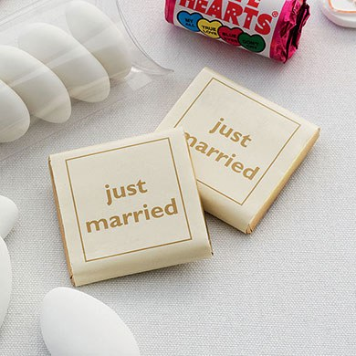 Individually Wrapped Just Married Chocolate Favor Squares Pack