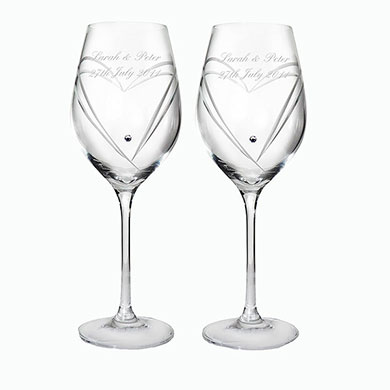 Diamante Heart Wine Glasses Personalized