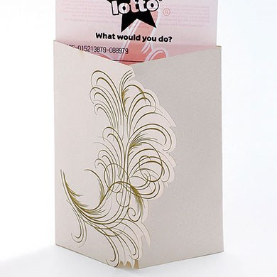 Pink Feather Lottery Ticket Holder Favors Pack