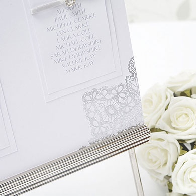 Silver Lace Wedding Table Seating Chart Kit A3