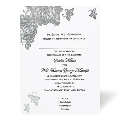 Lace Butterfly Design Wedding Stationery Invitation