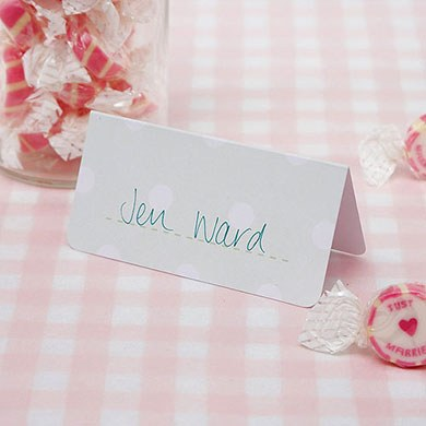 Pale Green/White Place Cards Pack