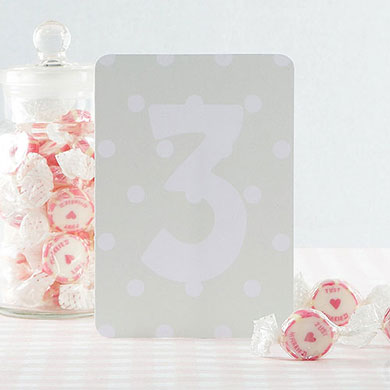 Shabby Chic Green/White Table Numbers 1-15