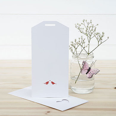 White and Red Eco Chic Birds Design Large Insert Tag - 10 Pack