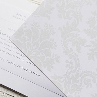 White and Pearl Damask Gatefold Invitation DIY Kit - 10 Pack