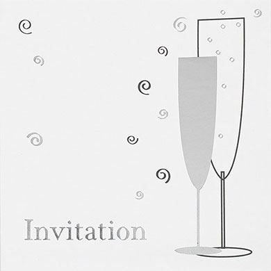 Champagne Flutes Open Invitation Cards - 6 Pack