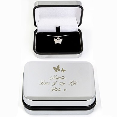 Flower Girl Silver Butterfly Necklace Gift   Personalised