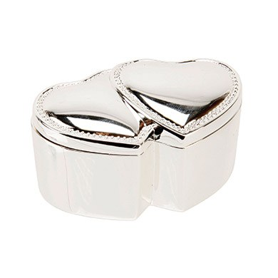 Sophia Silverplated Ring Box   Double Hearts