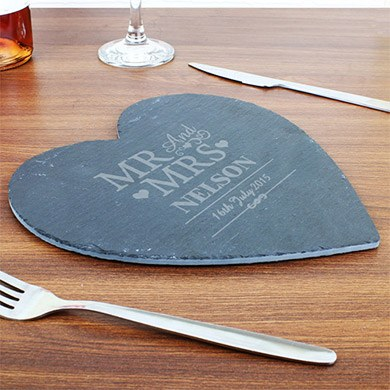 Personalized Mr & Mrs Slate Heart Placemat