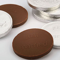 Foil Wrapped Silver Just Married Chocolate Coins Favors Pack