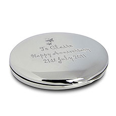 Round Butterfly Compact Mirror Personalized