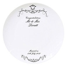 Ornate Swirl Wedding Message Plate Personalized