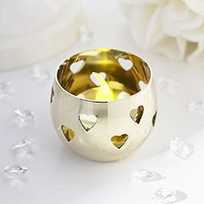 Gold Heart Detail Metal Tea Light Candle Holder
