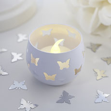 White Butterfly Detail Metal Tea Light Candle Holder