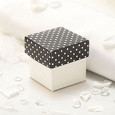 Black and Ivory Polka Dot Favour Box Pack 10