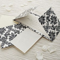 Black and Pearl Damask Gatefold Invitation DIY Kit - 10 Pack