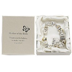 Amore Silver and Gold Bead Charm Bracelet Mother of the Bride