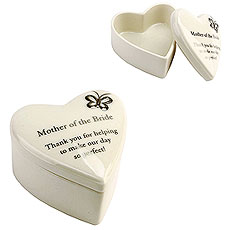 "Amore Porcelain Heart Trinket Box ""Mother of the Bride"""