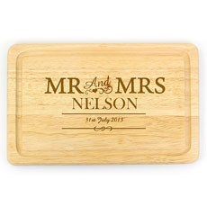Mr & Mrs Wood Engraved Chopping Board