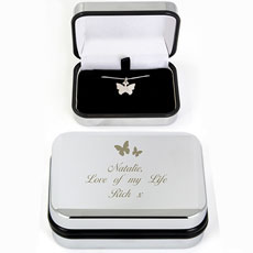 Butterfly Swirl Silver Personalized Necklace In Box