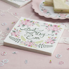 "Floral Fancy - ""Best Day Ever"" Napkins"